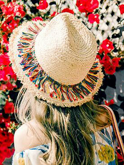 Beige Frayed Edge Tassel Detail Straw Floppy Sun Hat