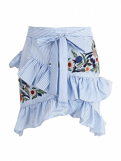 Blue Striped Embroidery Asymmetric Ruffle Tie Waist Mini Skirt