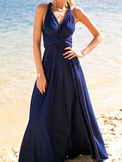 Navy Blue Multi-way Strap Maxi Dress