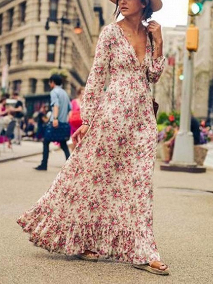 White Floral Print Plunge Long Sleeve Maxi Dress