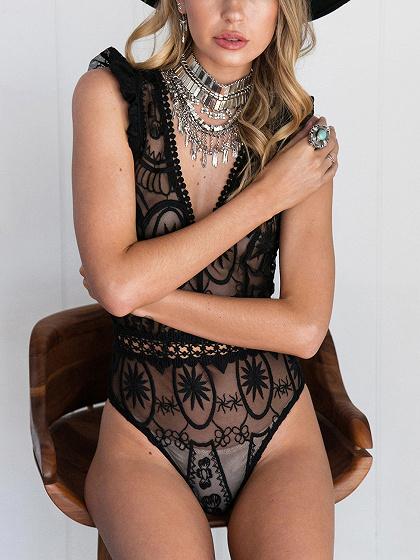 Black Plunge Frill Strap Sheer Lace Bodysuit