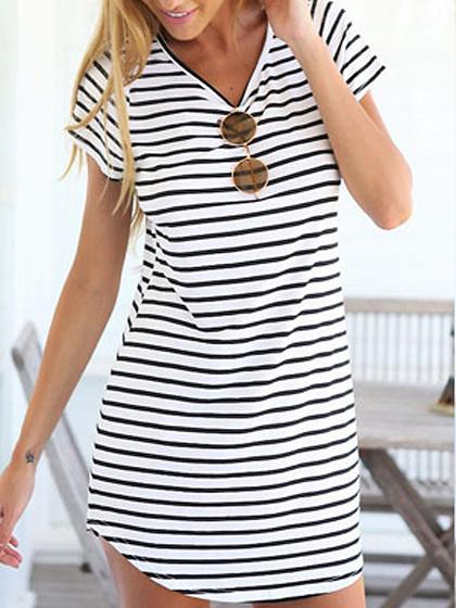 Monochrome Stripe Short Sleeve Shift Dress