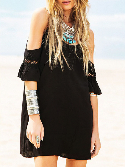 Black Cut Out Cold Shoulder Lace Trumpet Sleeve Spaghetti Strap Dress