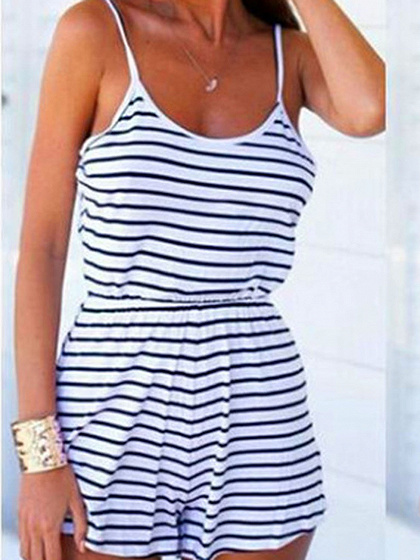 Monochrome Stripe Spaghetti Strap Backless Romper Playsuit
