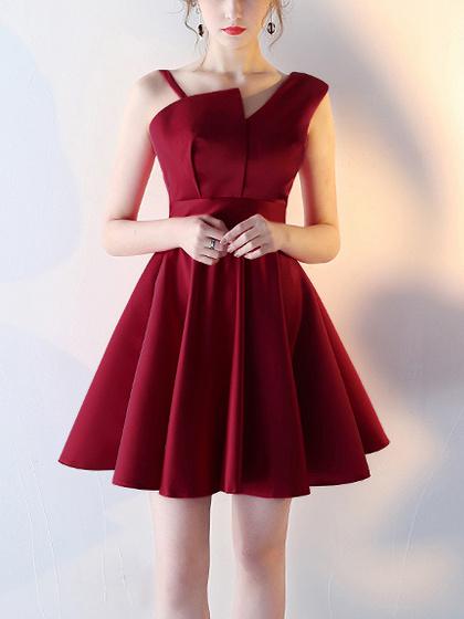 Red Satin Asymmetric Strap Sleeveless Skater Prom Dress