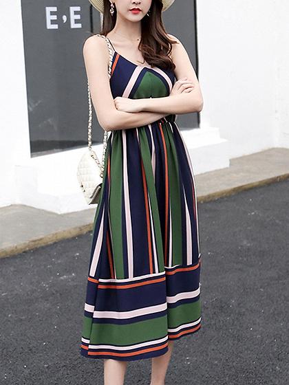 Green Contrast Stripe V Neck Cami Midi Dress