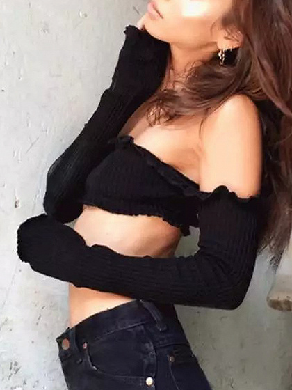 Black Off Shoulder Long Sleeve Ribbed Crop Top