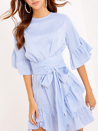 Blue Stripe Bell Sleeve Belt Waist Ruffle Hem Dress