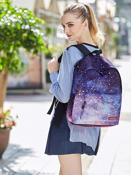 Purple Galaxy Print Padded Straps And Back Backpack