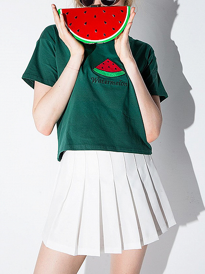 Green Watermelon Embroidery Short Sleeve T-shirt