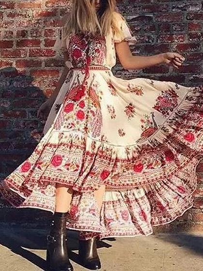 Polychrome Off Shoulder Floral Short Sleeve Dipped Hem Maxi Dress