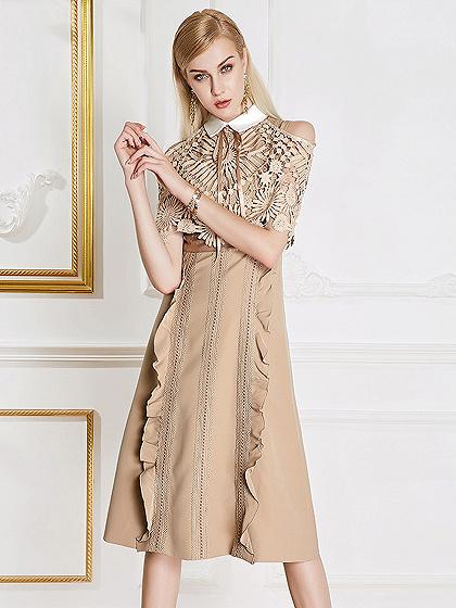 Khaki Cold Shoulder Lace Panel Pointed Collar Ruffle Trim Midi Dress