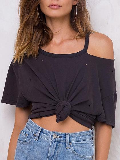 Black Cold Shoulder Distressed T-Shirt