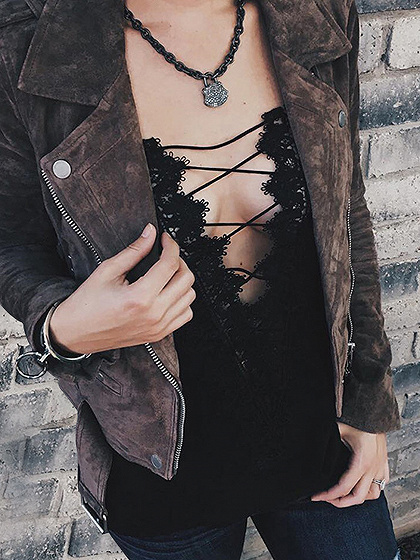 Black Lace Up Crochet Lace Panel Cami Top