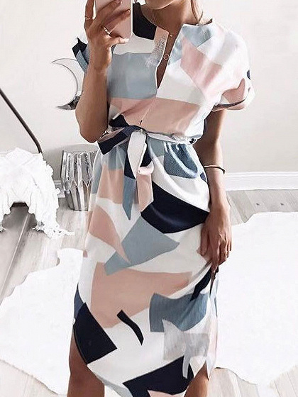Polychrome Color Block Geometric Print Tie Belt Midi Dress
