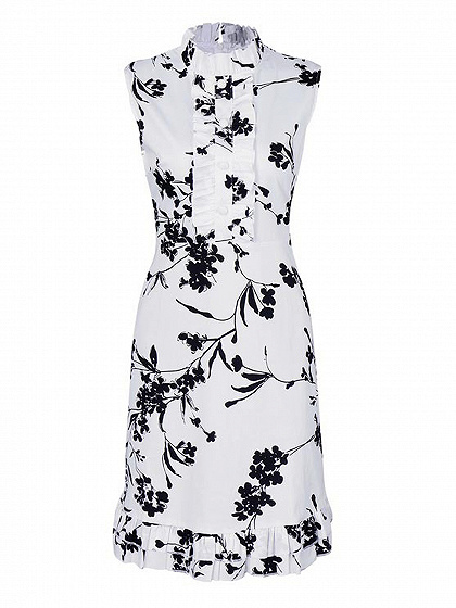 White Floral High Neck Ruffle Trim Sleeveless Dress
