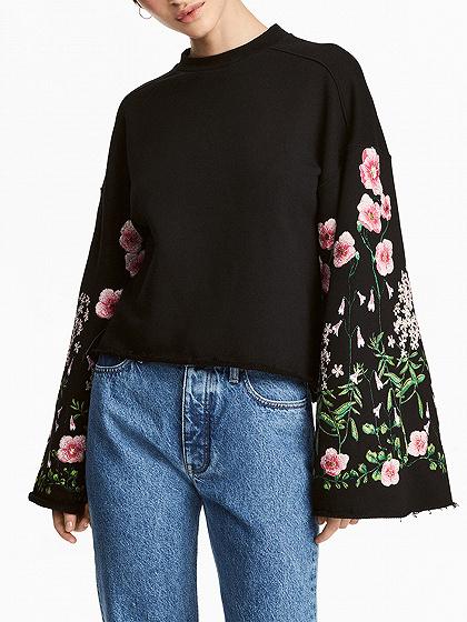 Black Embroidery Floral Bell Sleeve Raw Hem Sweatshirt