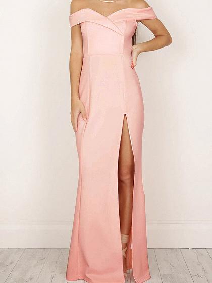 Pink Off Shoulder Folded Sweetheart Split Maxi Dress
