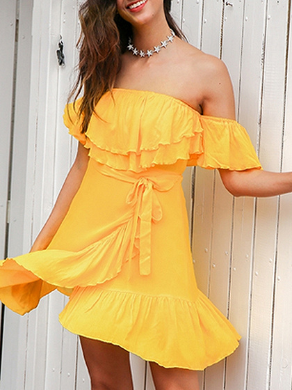 Yellow Off Shoulder Double Layer Ruffle Wrap Tie Side Dress