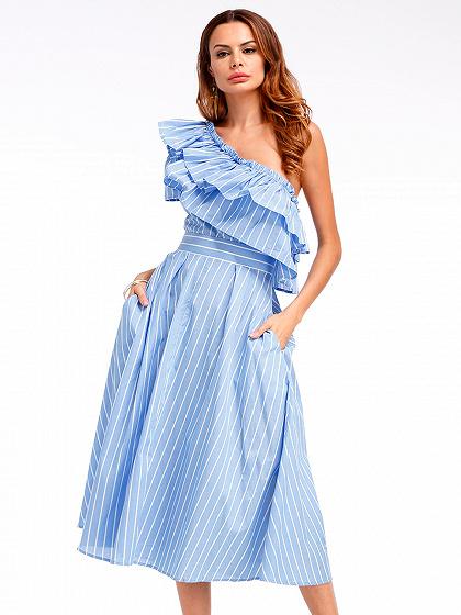 Blue Pinstripe One Shoulder Double Ruffle Midi Dress