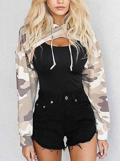 Khaki Camouflage Long Sleeve Cropped Hoodie