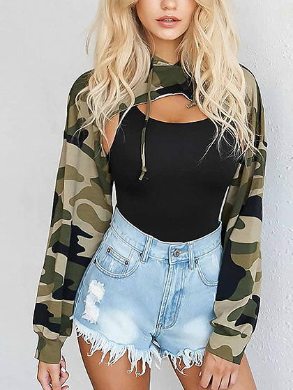 Green Camouflage Long Sleeve Cropped Hoodie
