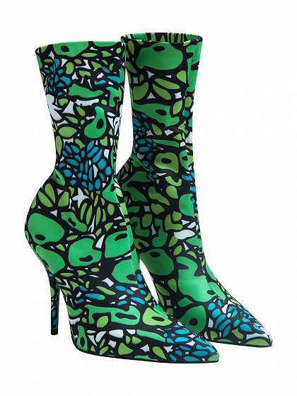 Green Geo Pattern Satin Look Pointed Heeled Boots