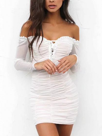 White Off Shoulder Lace Up Frill Ruched Mesh Bodycon Dress