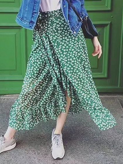 Green Floral High Waist Tie Side Ruffle Trim Midi Wrap Skirt