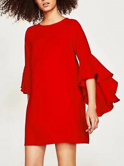 Red Flare Sleeve Shift Mini Dress
