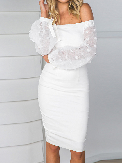 White Off Shoulder Sheer Puff Sleeve Split Bodycon Dress