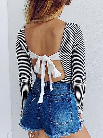 Black Stripe Tie Back Backless Long Sleeve Ribbed Bodysuit