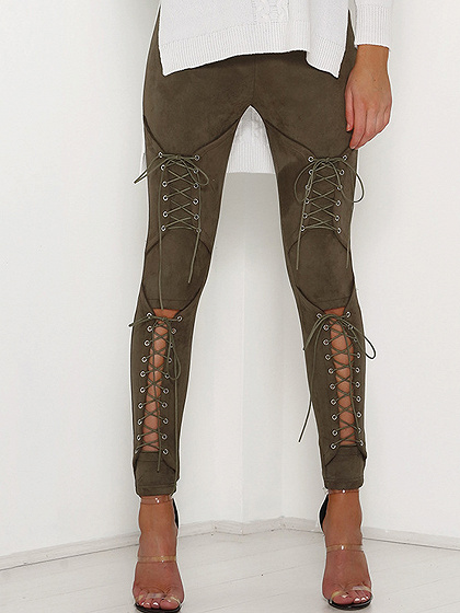 Army Green Faux Suede Lace Up Skinny Pants
