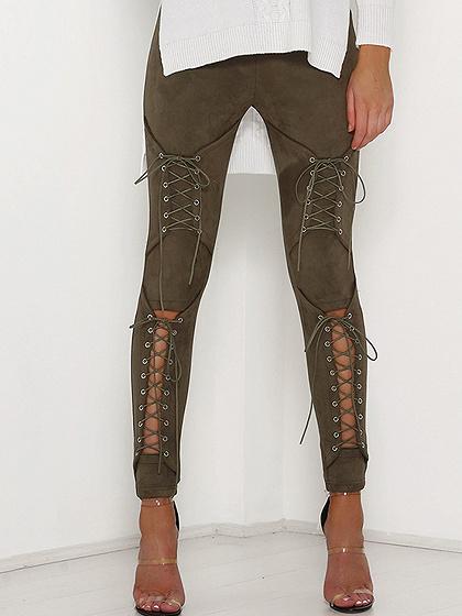 El verde del ejército Faux Suede Lace Up Skinny Pants