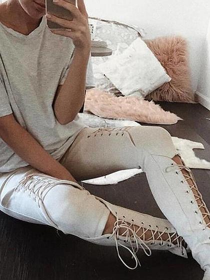 Khaki Faux Suede Lace Up Skinny Pantalones
