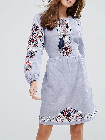 Blue Tribal Embroidery Tie Waist Long Sleeve Dress