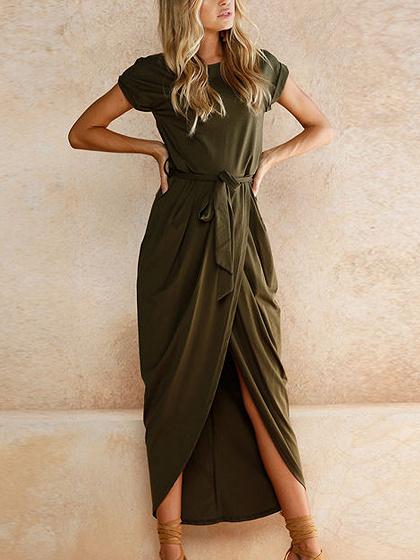 Army Green Tie Waist Short Sleeve Maxi Wrap Dress