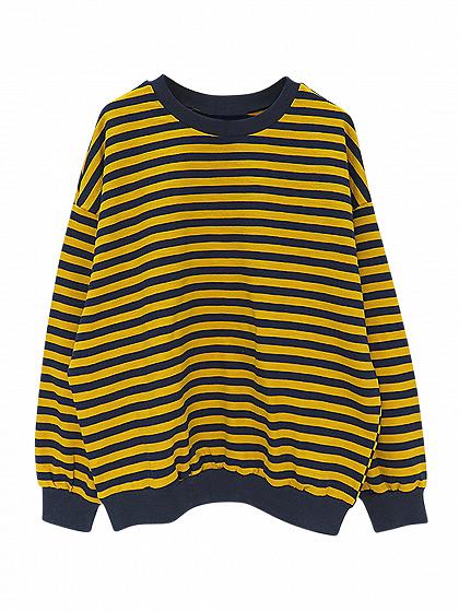 Yellow Stripe Drop Shoulder Long Sleeve Sweatshirt