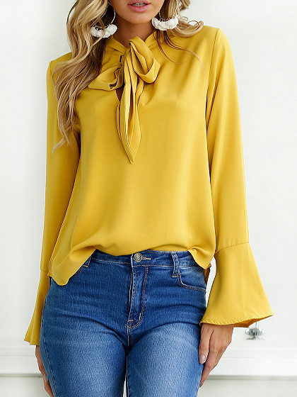 Yellow Tie Neck Bell Cuff Long Sleeve Shirt