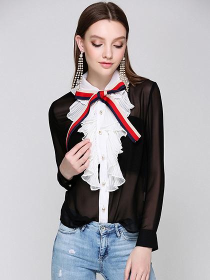 Black Contrast Frill Front Sheer Long Sleeve Chiffon Shirt
