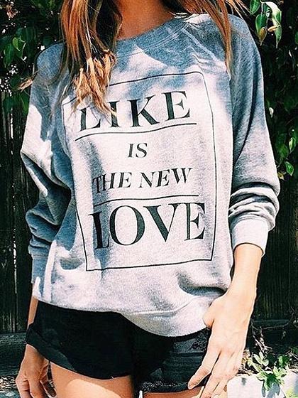 Gray Letter Print Long Sleeve Sweatshirt