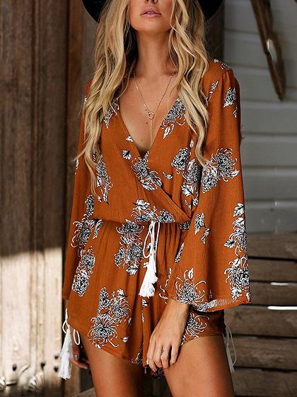 Orange V Neck Floral Print Wrap Long Sleeve Romper Playsuit