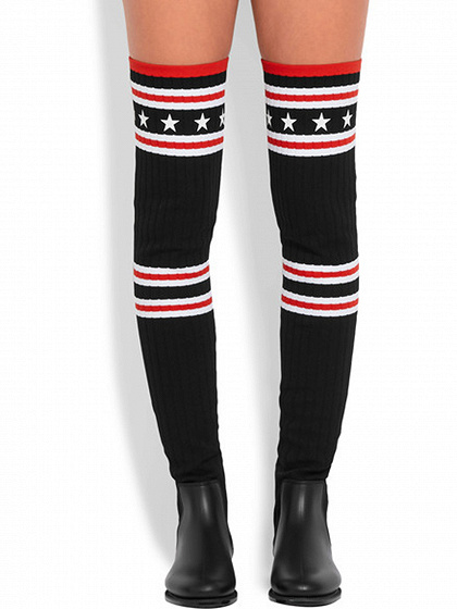 Black Knit Star Pattern Flat Over The Knee Boots