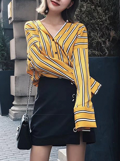 Yellow Stripe V-neck Drop Shoulder Long Sleeve Shirt