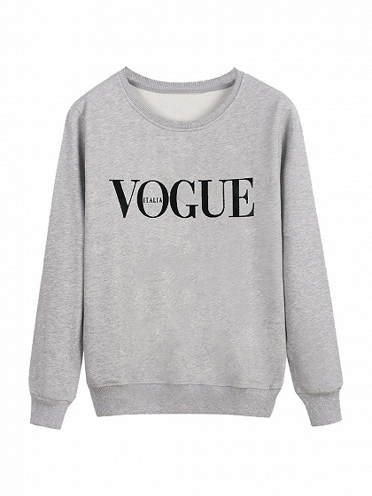 Gray VOGUE Print Front Sweatshirt