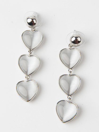 White Heart Stone Stud Earrings