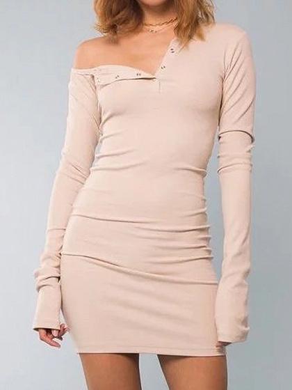 Khaki One Shoulder Long Sleeve Ribbed Bodycon Dress