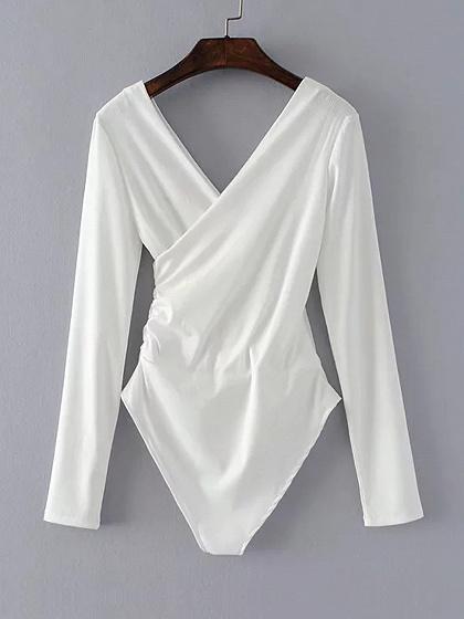 White V Neck Cross Wrap Long Sleeve Bodysuit