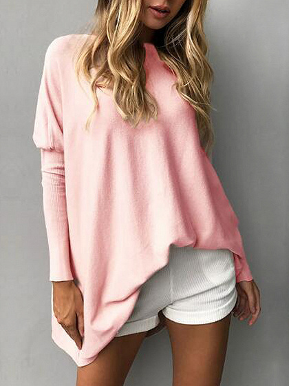 Pink Boat Neck Fitted Sleeve Übergroßes T-Shirt