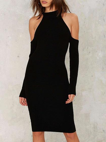Black Cold Shoulder Long Sleeve Bodycon Dress